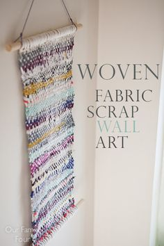 Free wall art, and fabric scrap buster! Woven Fabric Scrap Wall Art @ Our Family Four.jpg