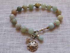 Beach Boho Style Amazonite Knotted Bead Bracelet with Sterling Silver Sand Dollar Charm on Etsy, $53.00