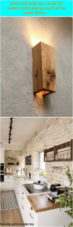 stone and wood are a must for modern rustic spaces, use it on the walls, floors … Handmade Home Decor, Modern Rustic, Dining Table, Flappers, Flooring, Wood, Walls, Profile, Spaces