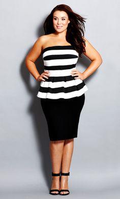 City Chic - STRIPE PEPLUM DRESS - Women's Plus Size Fashion