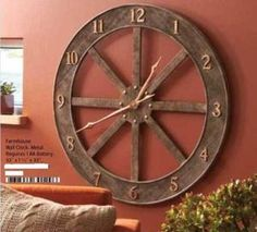 "Large Rustic Gallery Wagon Wheel Wall Clock 33"" Cabin Lodge Antique Brown New"