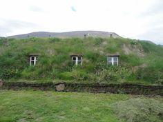 Turf house in Hólar, Northwest Iceland