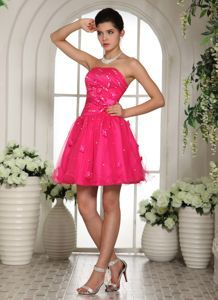 2013 Hot Pink Strapless Mini-length Puffy Prom Party Dress with Appliques