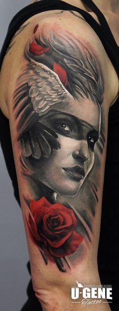 Redberry Tattoo Studio Wrocław #tattoo #inked #ink #studio #wroclaw #warszawa #tatuaz #gdansk #redberry #katowice #berlin #poland #krakow #kraków #sosnowiec #ugene #evgeniy #goryachiy #grey #rose #portrait #crow #wings #woman #angel #aniol #skrzydla #arm