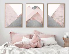 Trending Art, Printable Art, Downloadable, Set of 3 Prints, Mountain Print Set, Grey and Pink, Blush Pink, Scandinavian, Prints, Poster, Art