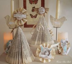 A friend's mom made many things from folded magazines. Vary the fold, spray paint, or not, get... Angels, Christmas trees, Santa & Mrs Santa, etc. You're only limited by your imagination.   HOME CHIC CLUB: DIY Vintage Shabby Shic Christmas Tree & Christmas Ornaments
