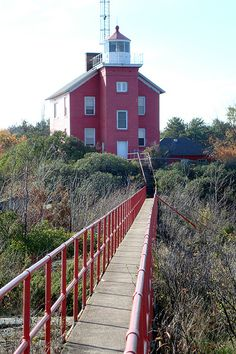 Marquette Lighthouse Catwalk to former Fog Horn House, Marquette, Michigan