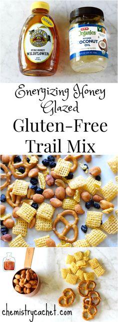 The Best Energizing Honey Glazed Gluten-Free Trail Mix. This gluten-free trail mix is so healthy and easy to make! on chemistrycachet.com