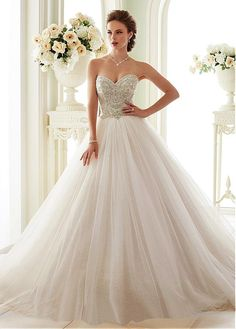 Fabulous Tulle Sweetheart Neckline Ball Gown Wedding Dresses With Beaded… More