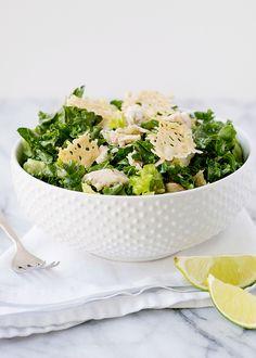 kale caesar salad with parmesan crisp croutons recipe    bakedbree.com