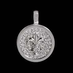 Pingente de prata com ródio redondo com Flor de Lis e zircônia