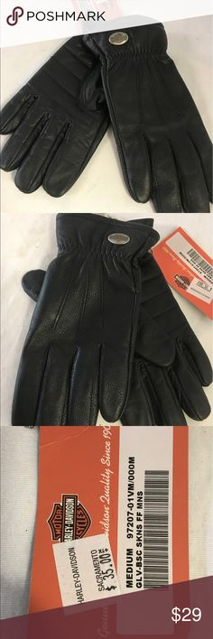 Harley Davidson Medium leather gloves New with tag,can be wear Unisex. Harley-Davidson Accessories Gloves