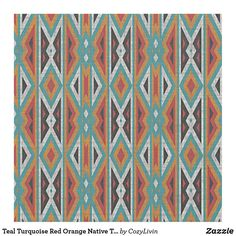 Teal Turquoise Red Orange Native Tribal Mosaic Art Fabric Bohemian Fabric, Sewing Projects, Diy Projects, Consumer Products, Mosaic Art, Teal Blue, Custom Fabric, Crafts To Make