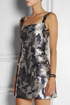 CHRISTOPHER KANE Silk-satin camouflage-jacquard dress