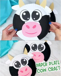 Make this easy cow craft for kids with a paper plate and some colored paper It s great for farm themes and comes with a free printable template It s great for preschool pre k and kindergarten children simpleeverydaymom craftsforkids paperplatecrafts Farm Animals Preschool, Farm Animal Crafts, Farm Crafts, Animal Crafts For Kids, Winter Crafts For Kids, Toddler Crafts, Paper Animal Crafts, Kindergarten Crafts, Preschool Crafts