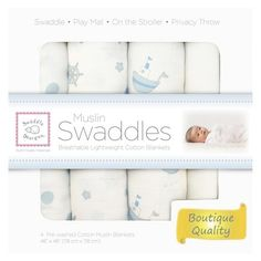 SwaddleDesigns 4pk Muslin Swaddle Blankets - Ships Ahoy! - Pastel Blue
