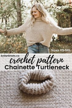 Crochet Pattern - Chainette Turtleneck Top-down, raglan-style sweater pattern with a cowl turtleneck. Oversized bust with fitted sleeves for a flattering fit on all sizes. Made with worsted weight yarn and includes sizes Crochet Baby Sweater Pattern, Crochet Baby Sweaters, Crochet Cardigan, Cute Crochet, Crochet Clothes, Crochet Shrugs, Crochet Style, Jumper Patterns, Sweater Knitting Patterns