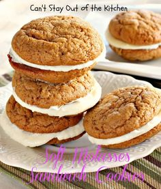 Soft Molasses Sandwich Cookies - oh, so wonderful! #cookie #dessert #holiday #baking via Can't Stay Out of the Kitchen #food #yummy #delicious