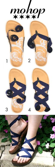"Mohop Styling Card! How to Tie tutorial for Mohop thong ribbon sandals.  Bespoke low handsculpted wood sandals X 5/8"" navy ribbon."