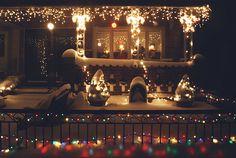 beautiful, christmas, christmas lights, christmas time, house, snow, snowing, winter