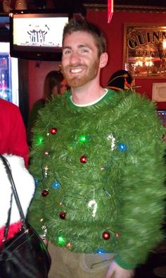 Ugly Christmas Sweater, Christmas sweater, christmas tree sweater, homemade, Scary funny - from Santa Conference NYC 2011