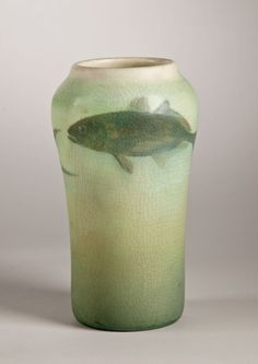Vase, 1904. Painted fish; glazed white clay; maker: Rookwood Pottery, Cincinnati, 1880–1967; decorator:  Edward Timothy Hurley, 1869–1950; H. 7 1/2 in. (PO-044-68).