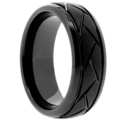 Black Ceramic Ring with Unique Carved Design