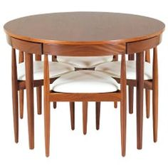 "Hans Olsen ""Roundette"" Dining Set for Frem Rølje - Esszimmer Dinning Table Design, Modern Dining Room Tables, Walnut Dining Table, Wooden Dining Tables, Dining Room Sets, Dining Table With Chairs, Wooden Dining Table Designs, Round Dining, Home Decor Furniture"