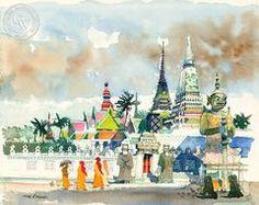 Bangkok, A.M., c. 1970's, California art by Dong Kingman. HD giclee art prints for sale at CaliforniaWatercolor.com - original California paintings, & premium giclee prints for sale