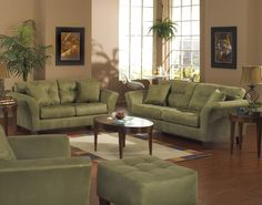 Ideas for Casual & Formal Living Rooms | Fabrics, Green couches ...