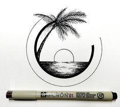 Amazing Pen and Ink Cross Hatching Masters Edition Ideas. Incredible Pen and Ink Cross Hatching Masters Edition Ideas. Tumblr Drawings, Doodle Drawings, Easy Drawings, Doodle Art, Circle Drawing, Drawing Base, Beach Drawing, Palm Tree Drawing, Circle Art