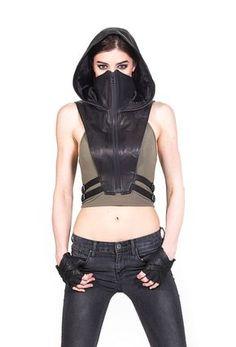 NINJA KOMBAT Tech Wear Hooded Crop Top Vest in Black Leather Leather Bra, Leather Vest, Black Leather, Leather Harness, Leather Jackets, Streetwear, Pvc Jeans, Mode Cyberpunk, Cyberpunk Fashion