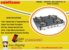 #sunflame #gas #stove crystal 4 #burner curve #stainless #steel auto ignition glass #shopping  #online #delhi