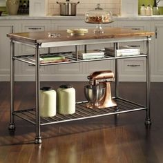 Butcher Block Wood Kitchen Island Cart Storage Top Utility Stationary Table  New | EBay