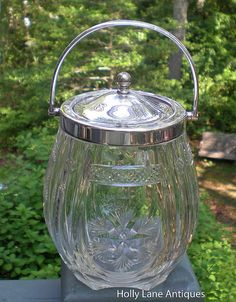 Antique English Biscuit Jar Finely Cut With by 4HollyLaneAntiques, $250.00