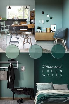 An inspiring round up of inspirations in blue paint, design and decor ideas in t. An inspiring round up of inspirations in blue paint, design and decor ideas in the blue interior trend Green Painted Walls, Dark Green Walls, Wall Paint Colors, Room Colors, Wall Colours, Room Paint, Interior Paint, Home Interior Design, Interior Colors