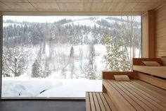 Enjoy the scenic landscape in our panoramic family sauna