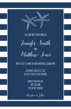 Wedding Beach Starfish Nautical 50 Invitations/RSVP Cards | ajinvites - Wedding on ArtFire