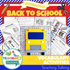 This adorable Back to School Vocabulary Activities pack includes 5 interactive speech therapy activities that will help you reinforce theme based vocabulary for PreK & Kindergarten students. Phonological Awareness Activities, Vocabulary Activities, Speech Therapy Activities, Interactive Activities, Book Activities, Teaching Vocabulary, Language Activities, Teaching Themes, Teaching Kindergarten
