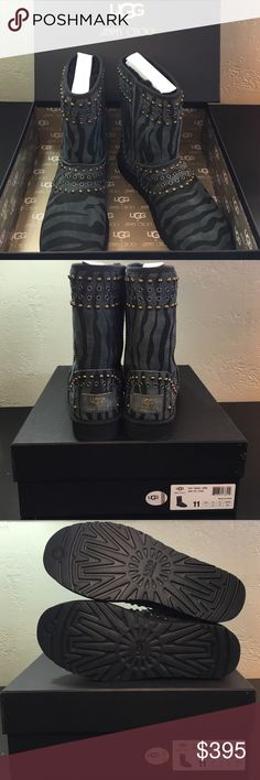 """Limited Edition Jimmy Choo UGG Kaia Boots in Zebra Gift quality, limited edition boots.  Jimmy Choo & UGG collaboration.  Original box with authenticity hologram.  Genuine sheepskin upper and lining/EVA sole. Approx. boot shaft height: 8""""; 14"""" calf circumference UGG Shoes Winter & Rain Boots"""