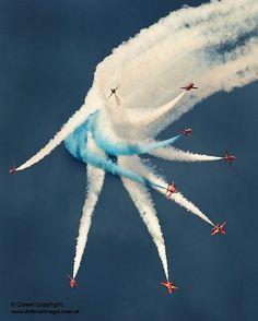 The Red Arrows Aerobatic Display Over RAF Shawbury.