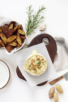 Baked Rosemary & Garlic Brie with Roasted Potatoes