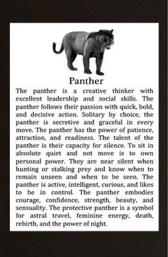 Your Animal Spirit Guide for April 8 is Panther – Witches Of The Craft® Panther Symbolism, Animal Symbolism, Panther Tattoo Meaning, Panther Tattoos, Black Panther Tattoo, Tattoo Black, Animal Spirit Guides, My Spirit Animal, Tatoo