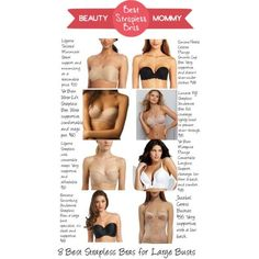 Strapless Bras for Large Busts. Find your best strapless bra ever. 8 of the best strapless bras for large busts (D cup or higher), including some affordable options! http://beautymommy.com/
