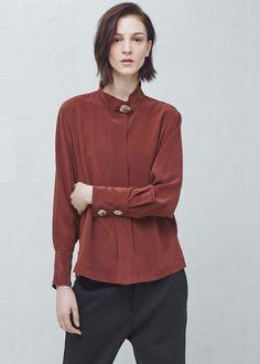 Premium - blusa seda botão   MANGO