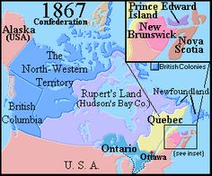 Map of Canada 1867, Confederation. British colonies in North America are united under the British North American Act to become the Dominion of Canada. The Act, drafted by John A. Macdonald and signed on May 8, became effective on July 1, 1867.