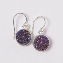 Purple Multicolor Druzy & Sterling Silver Earrings #silver #earrings #purple #druzyearrings #chicstyle www.jewelya.com