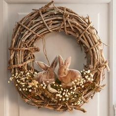 Peek-A-Boo Bunny Wreath from Through the Country Door® Easter Wreaths, Holiday Wreaths, Sheep Crafts, Twig Wreath, Easter Egg Crafts, Diy Ostern, Arte Floral, Spring Crafts, Easter Baskets