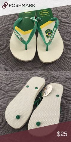 74f209811b0f10 Shop Men s Havaianas Yellow Green size 9 Sandals   Flip-Flops at a  discounted price at Poshmark. Description  Havaianas men s flip flops-Brazil  Olympic.