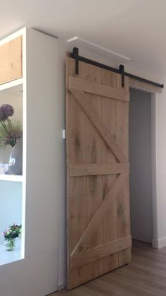 great idea for a door for bathroom or bedroom Home Upgrades, New Homes, Log Cabin Living, Farm Door, House Interior, House, Bedroom Loft, Cool Rooms, Home Deco